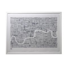 Bold and Noble London Type Map Slate Print In White Frame