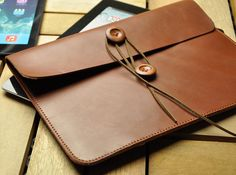 Brown leather  iPad Case, iPad Sleeve, iPad Cover Bag With leather Strap for iPad1 2 3 4 New iPad on Etsy, $28.00