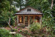 My Shed Plans - Jennys adorable potting shed made with reclaimed building materials Popsugar, Gazebo, Reclaimed Building Materials, Backyard Sheds, Garden Sheds, She Sheds, Potting Sheds, Shed Design, Garden Design