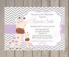 Giraffe Baby Shower Invitation - Girl Baby Shower, Purple and Grey Giraffes, Girl Baby Shower, Chevron - 020