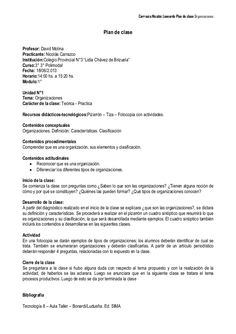 Carrazco Nicolás Leonardo Plan de clase:OrganizacionesPlan de claseProfesor…