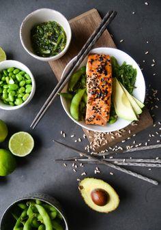 teriyaki marinated salmon, wakame & edamame beans (easily gf adaptable)