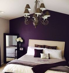 This Deep Purple Accent Wall Grey Walls Is Close To What I Have In Mind For My Bedroom Also A Huge Window Opposite The Will Bring