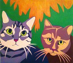 Premiere Contemporary Custom Pet Portrait Painting of a Two Cats by Artist BZTAT. Get a portrait of your pet at www.bztatstudios.com.