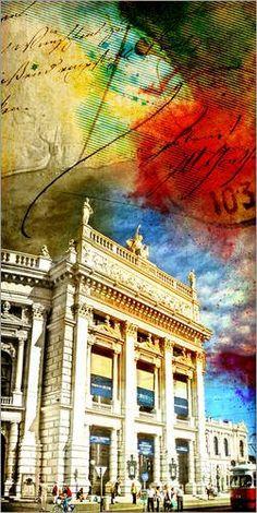 Poster 70 x 140 cm: Wien K und K Hofburgtheater Theater Collage abstrakt von Michael artefacti - hochwertiger Kunstdruck, neues Kunstposter