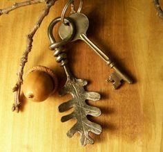 Hand Forged Steel Oak Leaf Key Chain