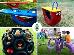 Make children's games out of tires - Kinderspiele Ideen Kids Outdoor Play, Outdoor Play Areas, Kids Play Area, Backyard For Kids, Tire Playground, Outdoor Playground, Tire Craft, Reuse Old Tires, Diy Crafts For Kids