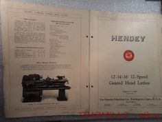 "1932 Hendey 12 14 16"" 12-Speed Gear Head Lathe Catalog Brochure Bulletin Vintage"