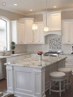 Supreme Kitchen Remodeling Choosing Your New Kitchen Countertops Ideas. Mind Blowing Kitchen Remodeling Choosing Your New Kitchen Countertops Ideas. Grey Kitchen Cabinets, Kitchen Cabinet Design, Kitchen Redo, Home Decor Kitchen, Kitchen Countertops, Kitchen Ideas, White Kitchen With Granite, Grey Granite Countertops, Granite For White Cabinets