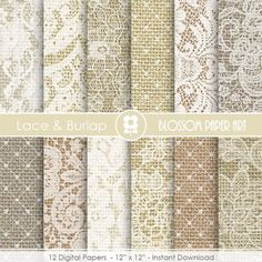 Lace Burlap Digital Paper, Scrapbook Lace Digital Paper Pack, Lace, Burlap, Wedding, Scrapbooking - INSTANT DOWNLOAD  - 1922 by blossompaperart