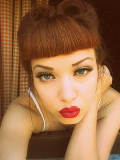 Pinup Beauty: victory rolls, black eyeliner and red lips - perfect combo!