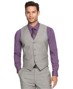 -- Alfani RED Vest, Grey Sharkskin Slim Fit - Men's Vests - Men - Macy's Tom, this would look great! Red Vest, Western Outfits, Lila Shirts, Grey Suit Men, Grey Suits, Mens Suits, Grey Tie, Purple Dress Shirt, Purple