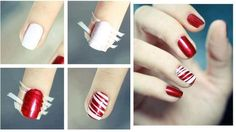 The internet has a zillion Nail Art Designs for Short Nails – marble effect, French manicures, acrylic nail art designs and many more. But what about those who have smaller nails? Red And White Nails, Red Nails, Hair And Nails, Funky Nails, Cute Nails, Pretty Nails, Nail Art Designs, Candy Cane Nails, Candy Canes