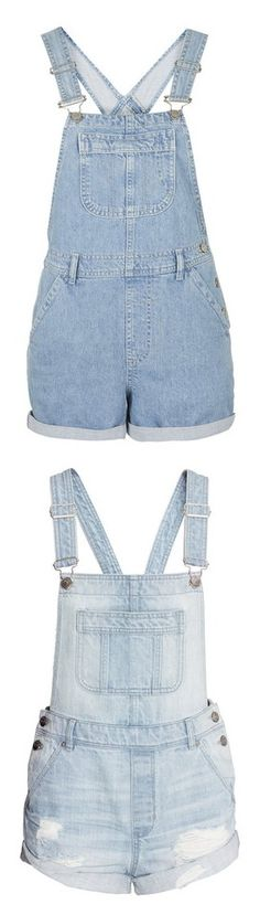 """""""overoles"""" by natalie-katycats ❤ liked on Polyvore featuring jumpsuits, rompers, overalls, shorts, playsuits, bleach, petite, short overalls, shorts overalls and short rompers"""