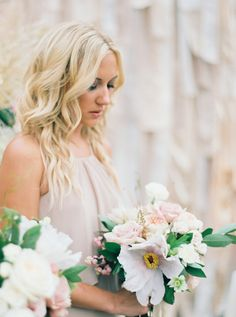 Bridesmaid in blush: http://www.stylemepretty.com/2016/04/20/a-whirlwind-hometown-wedding-filled-with-heart/ | Photography: Annie Parish - http://annieparishphotography.com/
