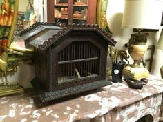"""Tramp Art Birdcage Made From Cigar Boxes  Turn of The Century  13"""" Wide x 8"""" Deep x 12"""" High   $275  Country Garden Antiques 147 Parkhouse  ..."""