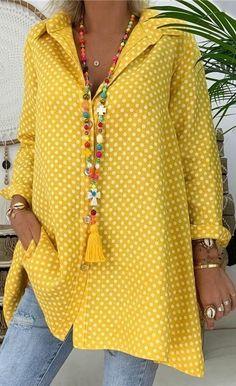 Plus Size Polka Dots Women Casual Shirts Daily Tops - Maturidade - Women Fashion Womens Fashion Casual Summer, Over 50 Womens Fashion, Trendy Fashion, Plus Size Fashion, Trendy Style, Fashion Women, Fashion Over Fifty, Casual Shirts, Casual Outfits