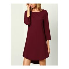 SheIn(sheinside) Wine Red Burgandy Long Sleeve Casual Dress ($16) ❤ liked on Polyvore featuring dresses, burgundy, short sleeve dress, long sleeve shift dress, long sleeve short dress, burgundy shift dress and long-sleeve maxi dress
