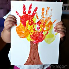 Fall Crafts For Kids of All Ages - Fun and Easy Fall Crafts and Craft Projects for Kids to Make - VERY fun Fall craft idea for toddlers and little kids to make - a handprint tree! Fall Crafts For Toddlers, Easy Fall Crafts, Craft Projects For Kids, Crafts For Kids To Make, Kids Crafts, Art For Kids, Craft Ideas, Art Projects, Dog Crafts