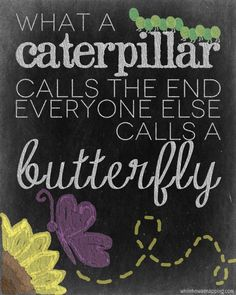 What a caterpillar calls the end, everyone else calls a butterfly.  Free chalkboard printable.