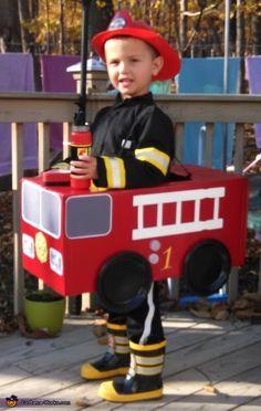 Fireman in Fire Truck - 2014 Halloween Costume Contest via @costume_works