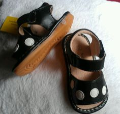 $8.99 Mary Jane Baby Toddler Girl Leather Squeaker shoe Size 2 Black /white Polka Dots