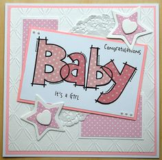 Woodware Huge Baby , paper pieced and finished of with clear wink of stella pen. Baby Shower Gifts, Baby Gifts, Invitation Cards, Invitations, Wink Of Stella, New Baby Cards, Paper Piecing, Baby Ideas, Handmade Cards