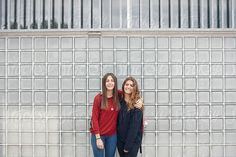 Portrait of two girlfriends at school  by Miquel Llonch