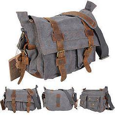 Goplus Men s Vintage Canvas Leather School Military Shoulder Messenger Bag  Gray  fashion  clothing   e58826eed33e5