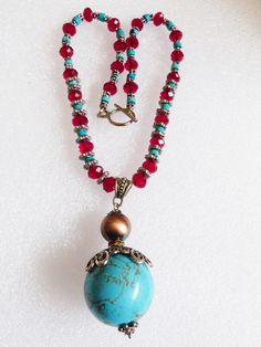 Silvertone & Red crystal Blue turquoise beads sphere ball drop Pendant Necklace | eBay