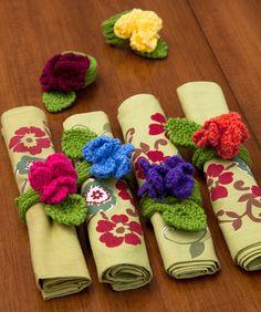 Fantasy Flower Napkin Rings, free knit thanks so xox