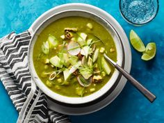 Get Poblano Posole Recipe from Food Network *add 2 roasted tomatoes & 1 roasted Serrano pepper Top Recipes, Mexican Food Recipes, Vegan Recipes, Cooking Recipes, Ethnic Recipes, Free Recipes, Amazing Recipes, Pizza Recipes, Chicken Recipes