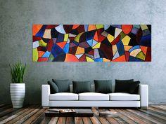 Abstraktes Acrylbild XXL modern und bunt 255x80cm von xxl-art.de