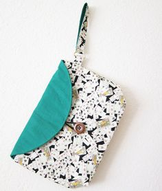 poker print wristlet with green flap by sofiapaseka on Etsy, $35.00
