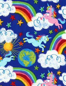 15 Yards in Stock - Timeless Treasures - Rainbows and Unicorns from the collection Crayon Party by Gail Cadden - 100% Cotton