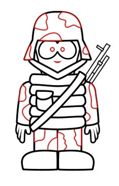 Learn how to draw a cartoon soldier.