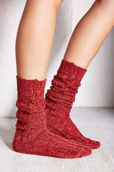 Chunky Knit Ribbed Knee-High Sock