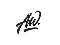 AW Monogram by Amin Wolter Brush Lettering, Hand Lettering, Handwritten Logo, Web Design, Logo Design, Website Layout, Writing Paper, Layout Inspiration, Monogram Logo