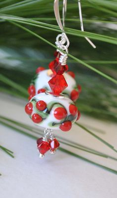 Christmas Earrings Holly Berry Earrings Lampwork Glass by bstrung