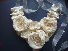White fabric flowers-necklace