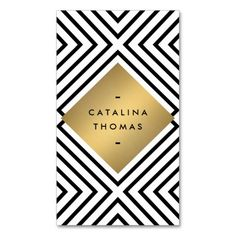 Retro Mod Bold Black and White Pattern Gold Emblem Customizable Business Card Template - personalize the front and back with your own info. An eye-catching, hip and trendy design for bloggers, boutiques, fashion stylists, personal branding and more. Printed on high quality card stock. Fast shipping.