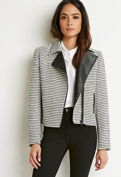 Striped Tweed Moto Jacket | Forever 21 - 2000172682