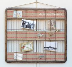 Love this idea and tutorial from My Salvaged Treasures.  A great way to display jewelry as well as photos.  http://mysalvagedtreasures.blogspot.com/2013/08/trash-to-treasure-photo-display.html
