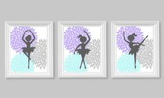 Ballerina Dancer Aqua Purple Gray Girl's by SweetPeaNurseryArt, $40.00