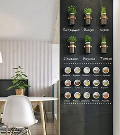 You can combine blackboard and magnetized painting to hang directly the little pots on the wall! Kitchen Blackboard, Inside Garden, Kerala Houses, Blackboards, Home Kitchens, Home Remodeling, Coffee Shop, Kitchen Remodel, New Homes