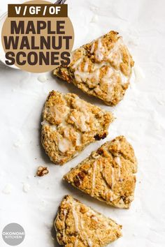 These Vegan Maple Walnut Scones are soft, fluffy and moist on the inside with a crispy exterior. Incredibly easy and healthy scones to enjoy for breakfast or as a snack! Healthy Scones, Vegan Scones, Vegan Muffins, Healthy Vegan Snacks, Vegan Treats, Vegan Food, Paleo, Dairy Free Baking, Vegan Baking Recipes