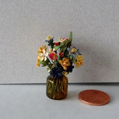 Dollhouse Miniature Assorted Spring Flowers by by KikiBeanMinis. on etsy now $22.99.