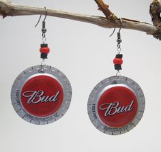Bud Beer Bottle Cap Earrings / Upcycled Jewelry  / by becycle, $8.00