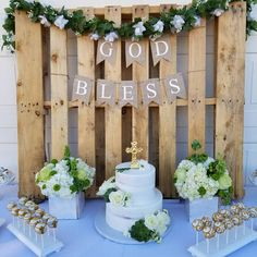 God Bless Banner First Communion Banner Christening Banner Baptism Party Decorations, First Communion Decorations, Balloon Decorations, First Communion Banner, Boys First Communion, Communion Cakes, Communion Centerpieces, Shower Centerpieces, Christening Centerpieces