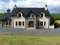 Lisserboy Road, Newry - PropertyPal - House Plans, Home Plan Designs, Floor Plans and Blueprints Stone Front House, House Front, Dormer House, Dormer Bungalow, Stone Exterior Houses, Stone Houses, Dream Home Design, House Design, L Shaped House Plans